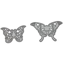 9 -  LBE3499 Silver Carbon Steel Knife Mold Butterfly Cutting Dies 2pcs -