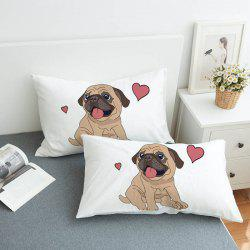 Fashionable Simple Bedding Love Puppy Pillow Case 2pcs -