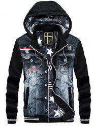 Men's Casual Hooded Sweater Denim Stitching Jacket -