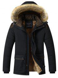 Youth Casual Men's Long Winter Clothing Brushed Cotton Jacket -