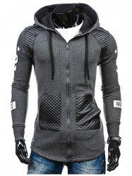 Men's Hoodie Fashion Hooded Casual Splicing Ribbon -