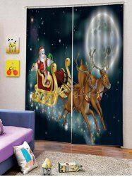 2PCS Father Christmas Deer Moon Window Curtains -