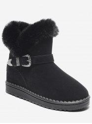Engraved Buckle Faux Fur Snow Boots -