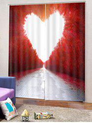 Maple Heart Printed 2PCS Window Curtains -