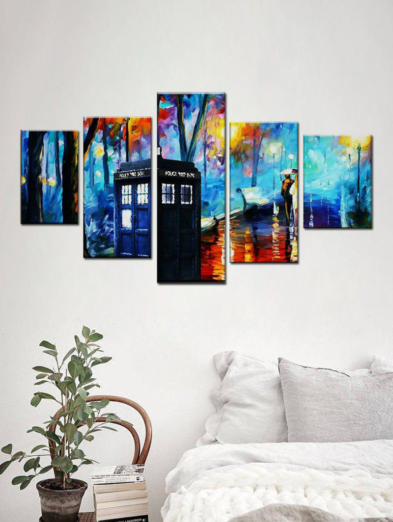 Chic Forest Street Print Unframed Split Canvas Paintings