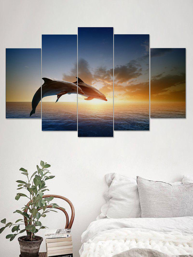 Outfits Sunset Dolphin Print Unframed Split Canvas Paintings