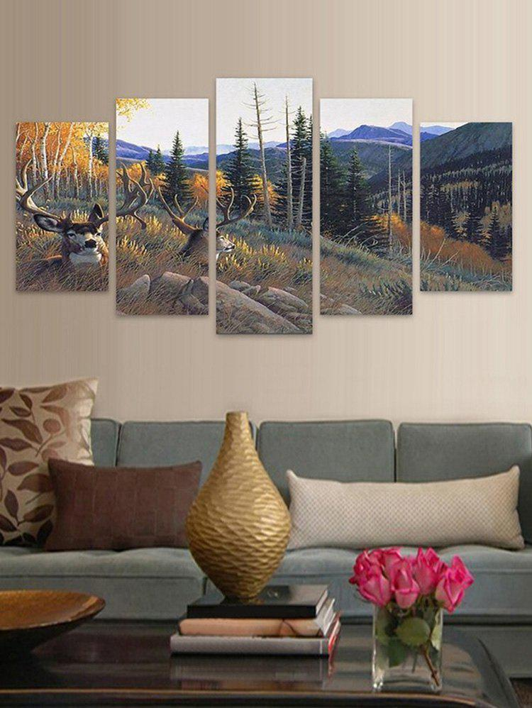 Chic Mountains Elks Print Unframed Split Canvas Paintings
