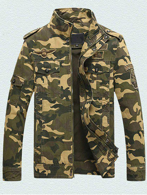 Chic Men's Workout Special Forces Collar Cotton Camouflage Jacket