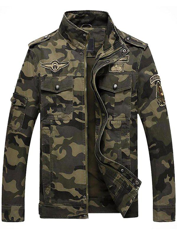 Trendy Men's Workout Special Forces Collar Cotton Camouflage Jacket