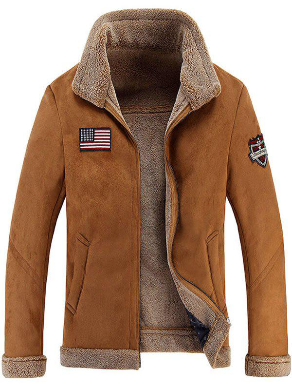 Discount Men's Leather Collar Simple Jacket