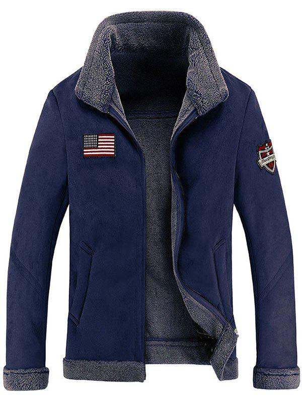 Affordable Men's Leather Collar Simple Jacket