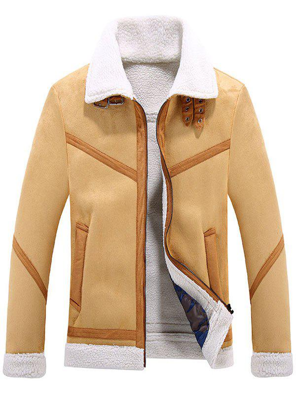 Affordable Lamb Fur One Lapel Leather Jacket