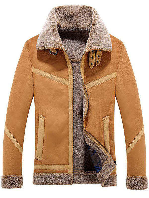 Cheap Lamb Fur One Lapel Leather Jacket