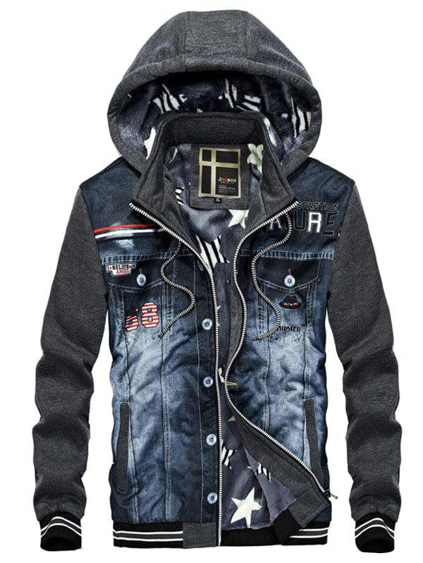 Chic Men's Casual Hooded Sweater Denim Stitching Jacket