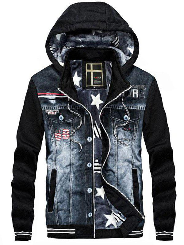 Cheap Men's Casual Hooded Sweater Denim Stitching Jacket