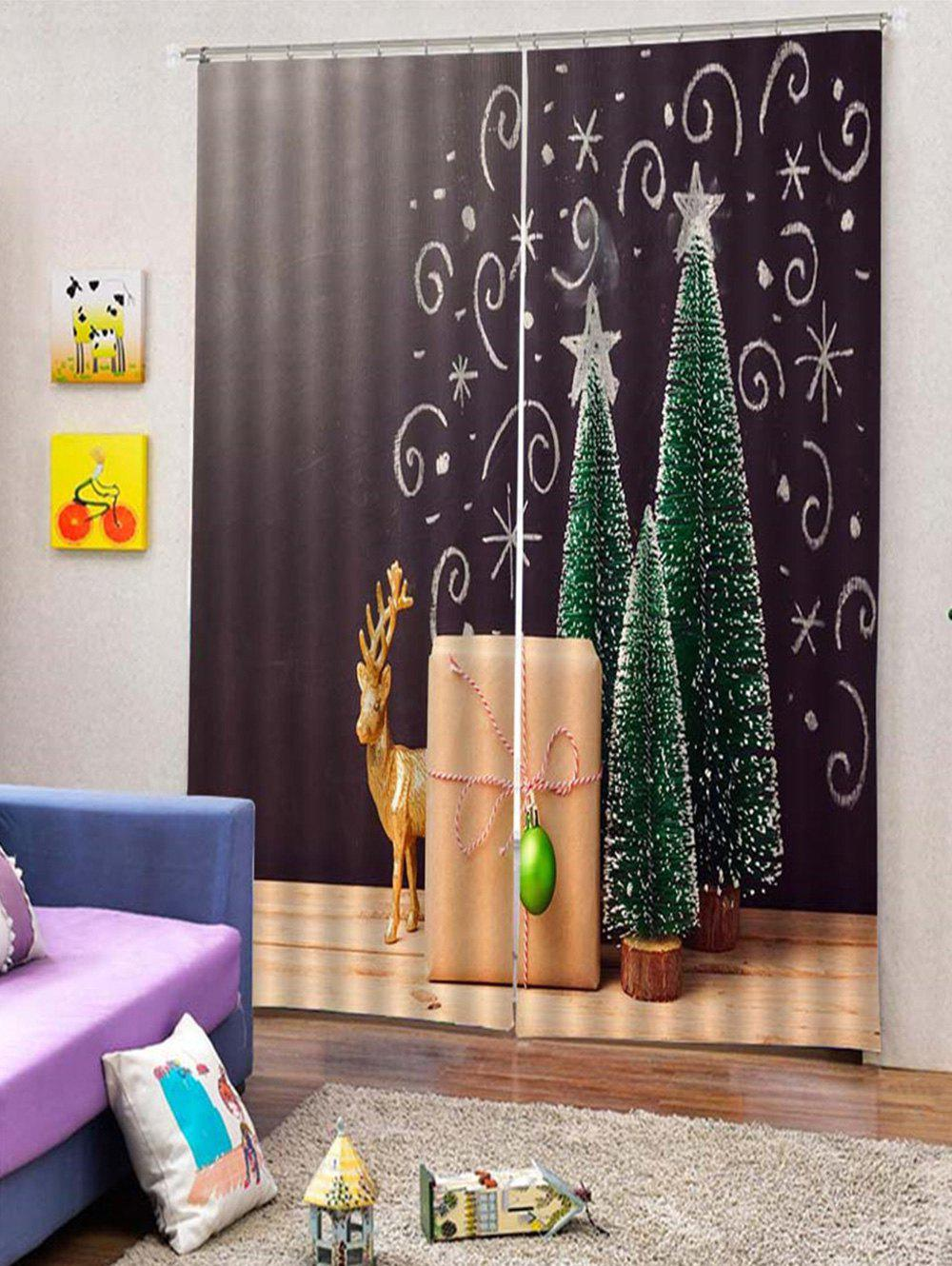 Outfits 2PCS Christmas Tree Deer Window Curtains
