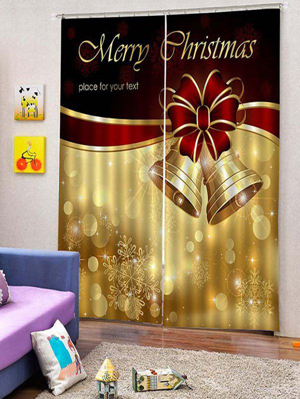 Online 2PCS Merry Christmas Bell Window Curtains