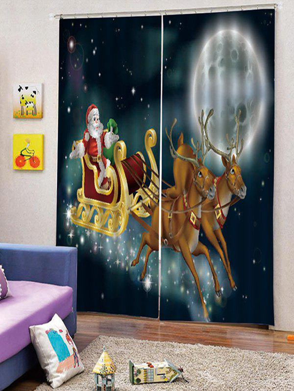 Latest 2PCS Father Christmas Deer Moon Window Curtains