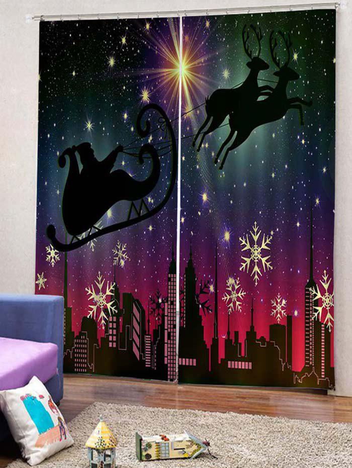 Chic 2PCS Father Christmas Snowflake Deer Window Curtains