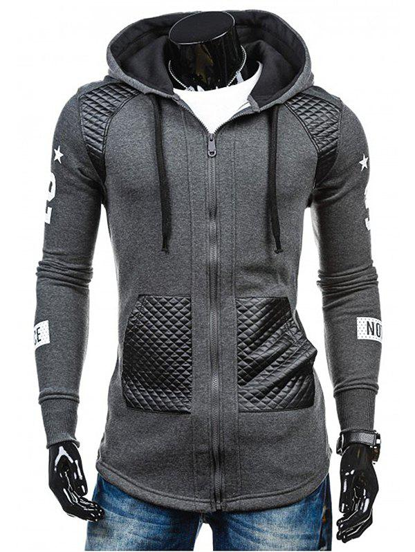 New Men's Hoodie Fashion Hooded Casual Splicing Ribbon