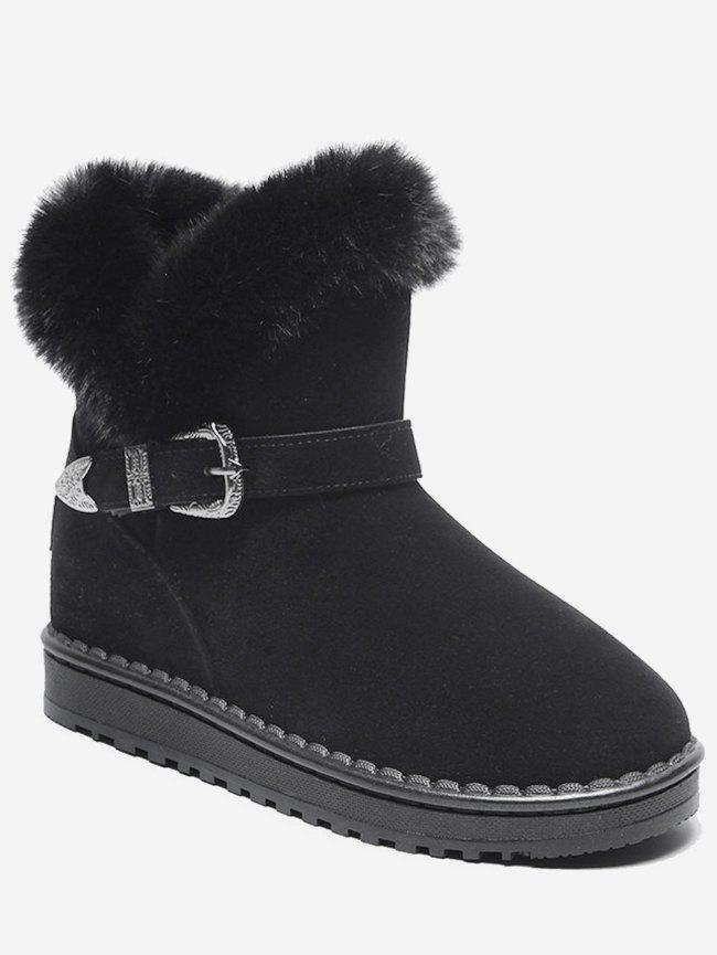 Trendy Engraved Buckle Faux Fur Snow Boots