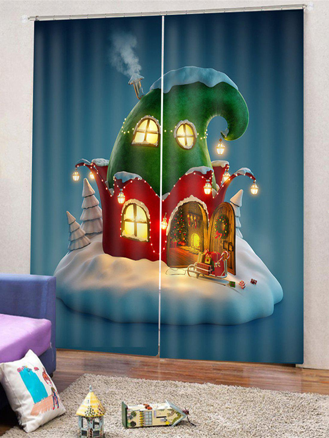 Hot 2PCS Christmas House Printed Window Curtains