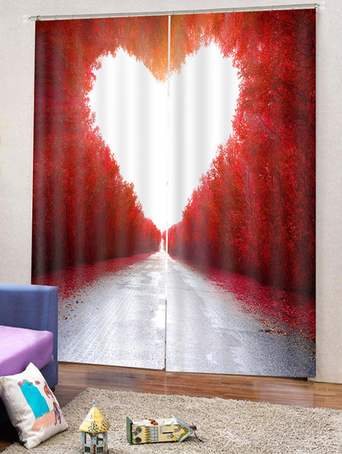 Unique Maple Heart Printed 2PCS Window Curtains
