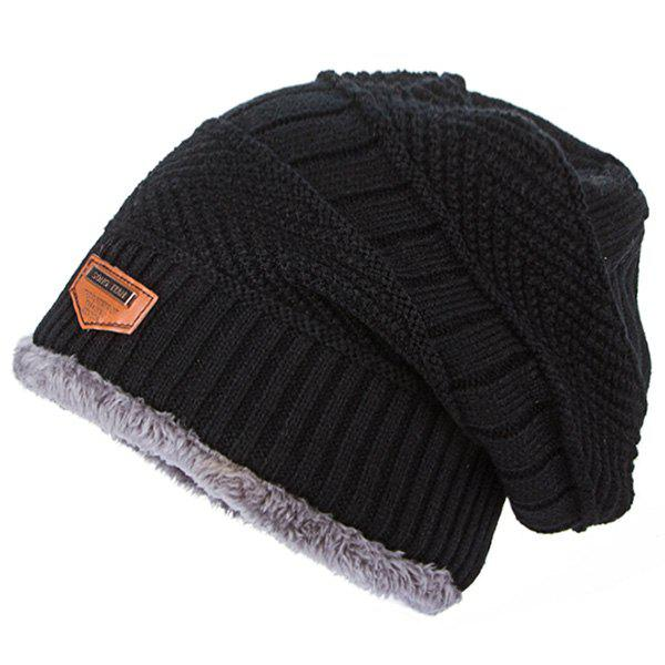 4f58b257277 2019 Tide Knit Wool Hat Winter Plus Velvet Warm Hooded Men s Outdoor ...