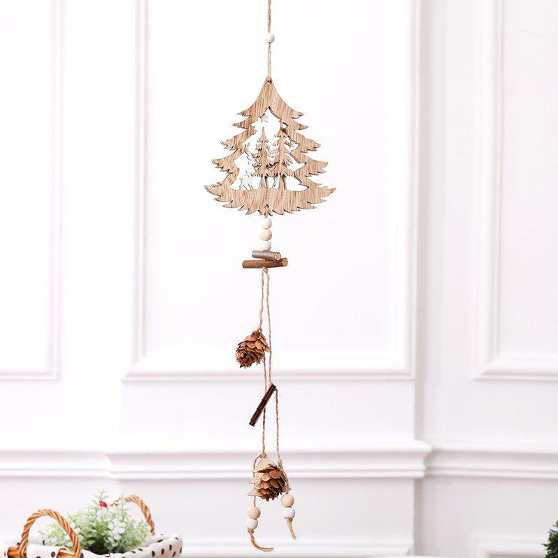 Sale Christmas Supplies Wooden Five-pointed Star Hanging Rope Pine Cone Decoration Pendant