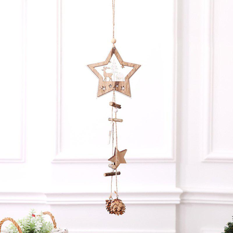 Chic Christmas Supplies Wooden Five-pointed Star Hanging Rope Pine Cone Decoration Pendant