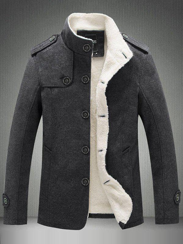 Fancy High-grade Wool Stand Collar Plus Fluffy Collar Jacket