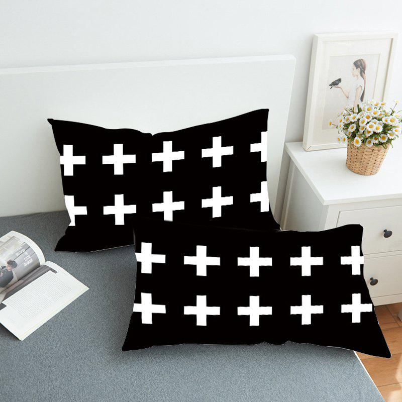 Latest Cross Quilt Home Textile Bedding Fashion Simple Pillowcase 3D Printing 2PCS