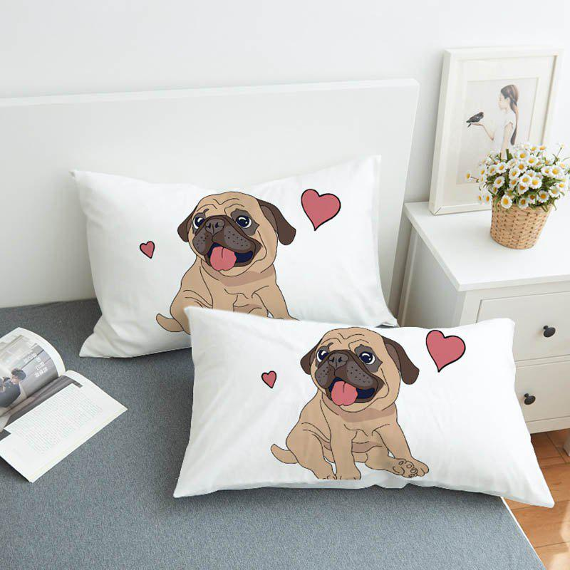 Outfit Fashionable Simple Bedding Love Puppy Pillow Case 2pcs