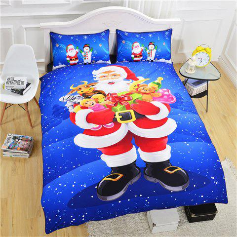 Christmas Series Quilt Home Textile Kit Bedding Three-piece Cool Pattern Couple Kit - BLUE - QUEEN