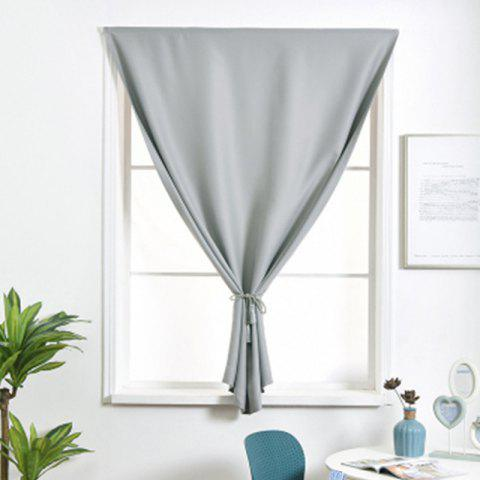 Curtain Finished Simple Solid Color Shading Free Punch Short Curtain - LIGHT GRAY - 100X130CM