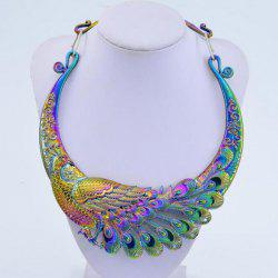 K1066 Exaggerated Retro Colorful Atmosphere Peacock Double Dragon Play Beads Collar Pendant Necklace -
