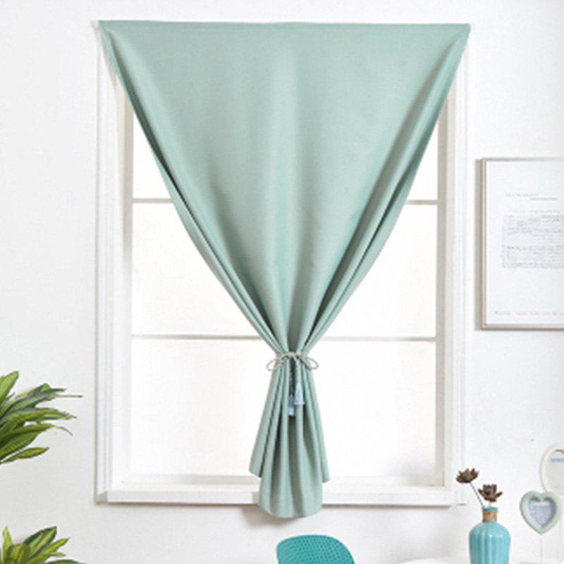 Sale Curtain Finished Simple Solid Color Shading Free Punch Short Curtain