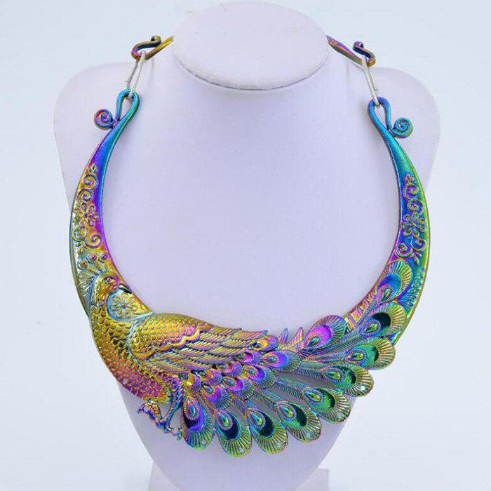 Best K1066 Exaggerated Retro Colorful Atmosphere Peacock Double Dragon Play Beads Collar Pendant Necklace