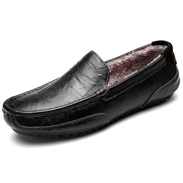 Discount 2028-1 Men's Plus Velvet Warm One Pedal Driving Shoes Peas Flat Shoes