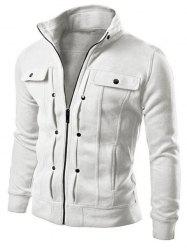 Slim Solid Color Pocket Men Jacket -