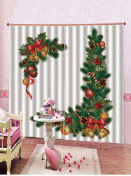 2PCS Christmas Bell Pattern Window Curtains -