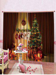 Christmas Candles Pattern 2PCS Window Curtains -