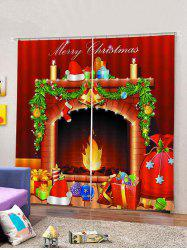 2 Panels Christmas Fireplace Print Window Curtains -