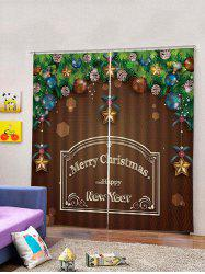 Christmas Baubles Pattern 2PCS Window Curtain -