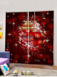 2PCS Christmas Spots and Ball Printed Window Curtains -