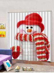 2 Panels Christmas Snowman Print Window Curtains -