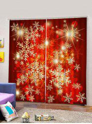 2PCS Red Snowflake Printed Window Curtains -