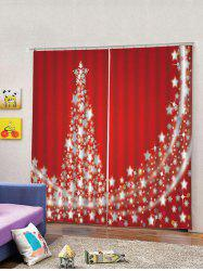 2PCS Christmas Stars Tree Printed Window Curtains -