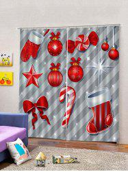 2 Panels Christmas Props Print Window Curtains -