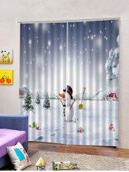 2 Panels Christmas Snowman Snowfield Print Window Curtains -